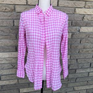 J Crew pink gingham button down top size 4P